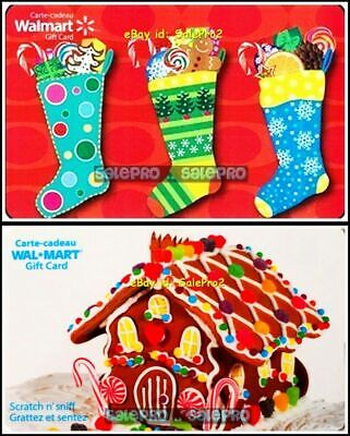 2x WALMART CHRISTMAS GINGERBREAD HOUSE 3 STOCKINGS COLLECTIBLE GIFT CARD LOT