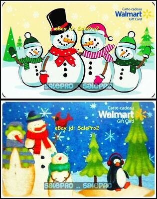 2x WALMART CHRISTMAS SNOWMAN PARTY & HAPPY PENGUIN COLLECTIBLE GIFT CARD LOT