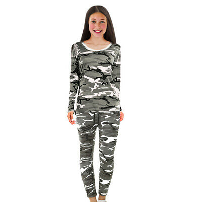 New Girls Camo Top Bottom Set Kids Army 2 Pcs Tracksuits Sports Military Jogging