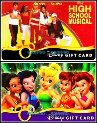 2x DISNEY SCHOOL MUSICAL TINKER BELL MAGIC MOMENTS COLLECTIBLE GIFT CARD LOT