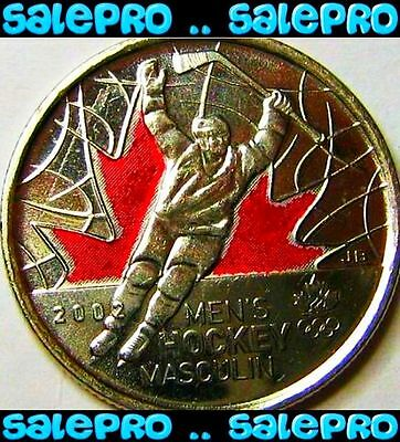 Canada 2009 Olympic Men's Hockey Rare Raised '2' Colorized 25 Cent Coin Bu Unc