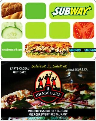 2x SUBWAY ALWAYS FRESH 3 BRASSEURS SUB BURGER BEER COLLECTIBLE GIFT CARD LOT