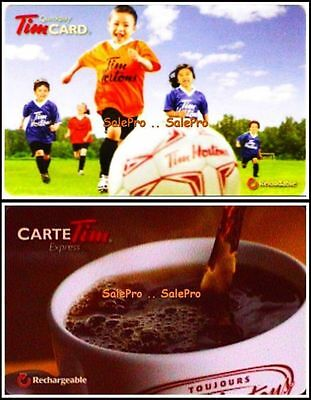 2x TIM HORTON COFFEE HOT EXPRESS RELOADABLE SOCCER COLLECTIBLE GIFT CARD LOT