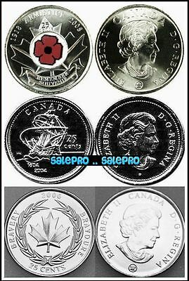 3x CANADA 2004 ST. CROIX 2006 BRAVERY 2008 RED COLORIZED POPPY 25 CENTS COIN LOT