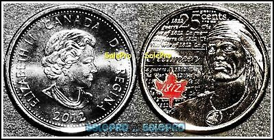 Canada 2012 Canadian Tecumseh War Of 1812 Rare Red Colorized 25 Cent Coin Unc