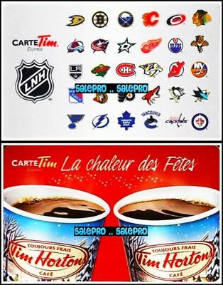 2x TIM HORTON 2013 2014 CHRISTMAS HOCKEY TEAM LOGO COLLECTIBLE GIFT CARD LOT