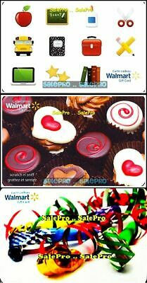 3x WALMART CHRISTMAS CHOCOLATES APPLE CAR BOOK BUS COLLECTIBLE GIFT CARD LOT