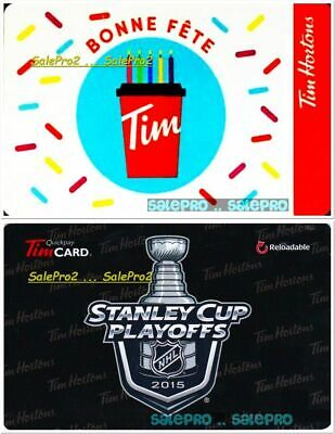 2x TIM HORTON BONNE FETE HOCKEY COUPE STANLEY CUP RARE COLLECTIBLE GIFT CARD LOT