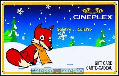 Cineplex 2012 Christmas Fox In The Snow Canada Bilingual Collectible Gift Card