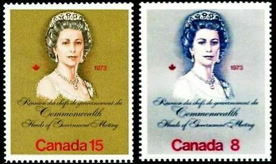 Canada 1973 Canadian Meeting Queen Elizabeth Fv Face 23 Cent Rare Mnh Stamp Set