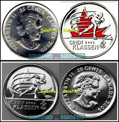2x CANADA 2009 OLYMPIC KLASSEN SPEED SKATING COLORIZED 25 CENT COIN SET LOT UNC