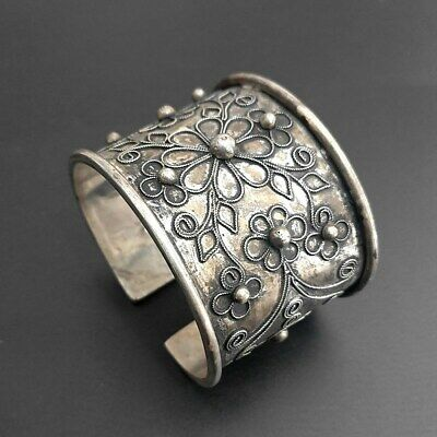 Traditional wide Chinese handmade filigree flower Miao silver bracelet 1piece