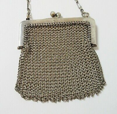 Antique Sterling Silver Chain Mesh Purse Chatelaine