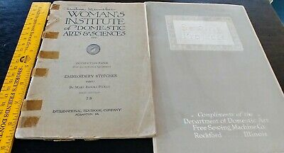 "2 Manuals ""Woman's Institute of Domestic Arts & Sciences"" Sewing, Embroidery."