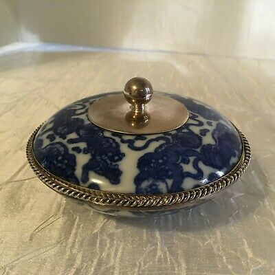 Blue, White, & Sterling Silver Chinese Porcelain Jewelry Trinket Box Casket