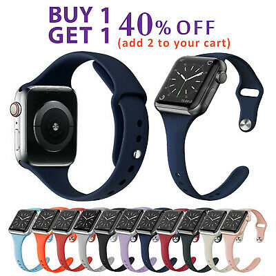 For Apple Watch SLIM Soft Silicone Band iWatch Wristband Strap 40/44mm 38/42mm