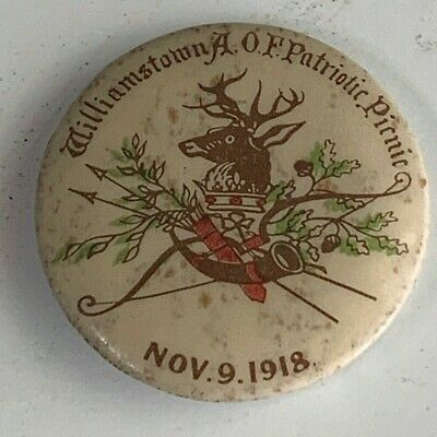 WW1 Williamstown Ancient Order Of Foresters Patriotic Picnic 1918 Button Badge