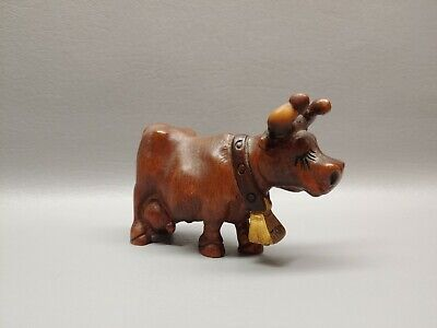 Hand carved wooden wood cow figure standing mom 4 1/4""