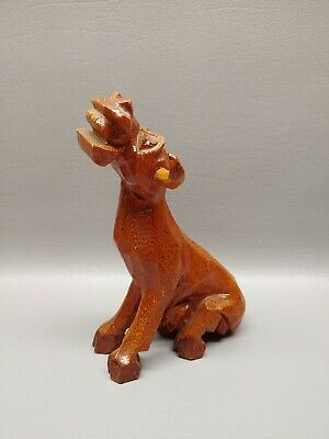 Hand carved wooden wood cow figure sitting smiley bull 6""