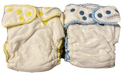 Lot of 2 Large Sloomb SustainableBabyish Fitted Cloth Diapers Bamboo