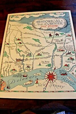 Historic Map of CHESTER PA and Vicinity 1951 LARGE COLOR MAP Gorgeous Duncan