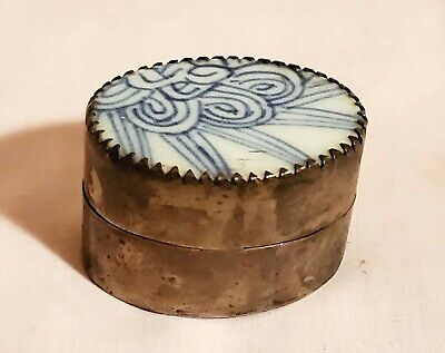 Chinese Blue and White Paktong Snuff Box with Wax Seal Inside Lid