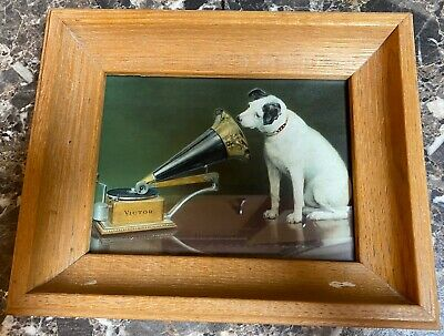 """RCA Victor Victrola Nipper the Dog """"His Master's Voice"""" Print Framed 8"""" x 6"""""""