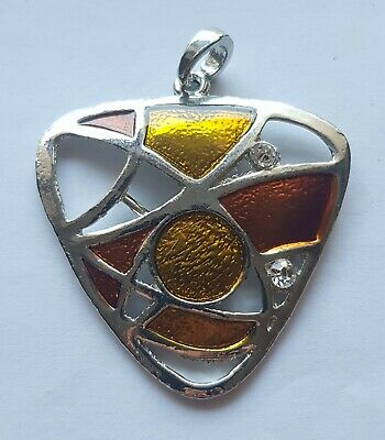 Large Silver Coloured Pendant with Orange and Yellow Enamel