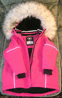 Girls Outdoor Coat, Pink with Reflective Piping, Removable Hood Fur Edged, 6 Yrs