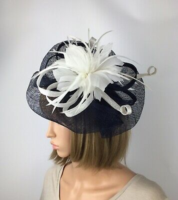 Navy Blue and White Fascinator Ladies Wedding Hatinator Mother Bride Ascot Races