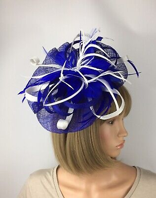 Royal Blue and White Fascinator Bride Occasion Wedding Races Ascot Hatinator