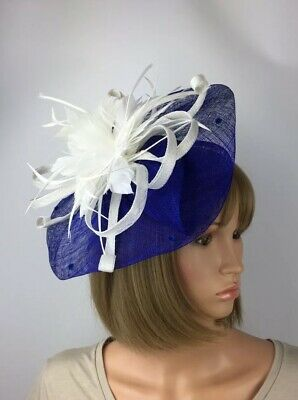 Royal Blue and White Fascinator Mother Of The Bride Occasion Wedding Races Ascot