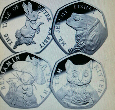 2017 ALL 4 BEATRIX POTTER FULL SET OFF 50p COIN'S RABBIT,BUNNY, FISHER, KITTEN