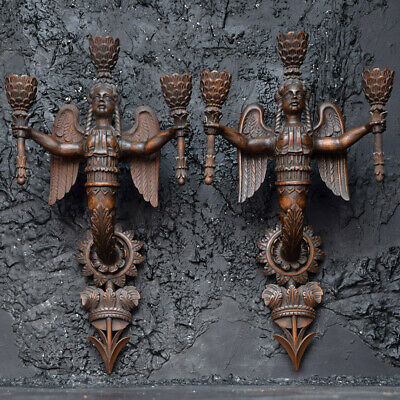 Exquisite Early 19th Century Neoclassical Carved Wood Sconces