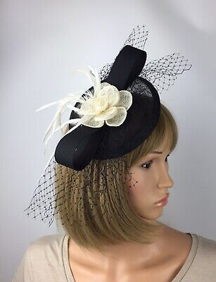 Black And Ivory Fascinator On Clip Wedding Mother Of The Bride Ascot Races Hat