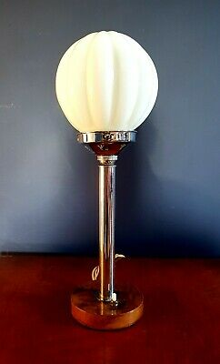 ORIGINAL 1930s ART DECO TABLE DESK LAMP CHROME STEM ICONIC  GLOBE GLASS SHADE