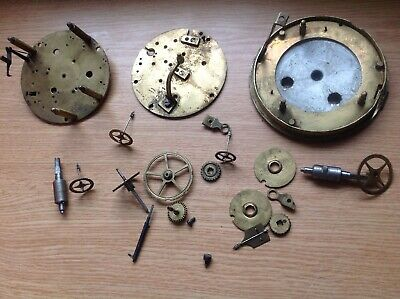 Antique French Clock Movement Parts Brass Plates 81mm Diam.Cogs Wheels Spares