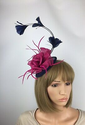 Pink and Navy fascinator Fuchsia & Navy Wedding Mother Of The Bride Ascot Races