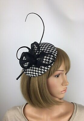 Black White Houndstooth Dogtooth Fascinator Hat Hair Clip Funeral Wedding