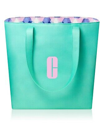 New Clinique Tote Travel Beach Shopping Bag Overnight Teal Light Green 2019