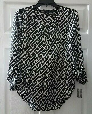 $69 NWT INC Womens Geo Print Black White Split Neck Blouse Top Size 4