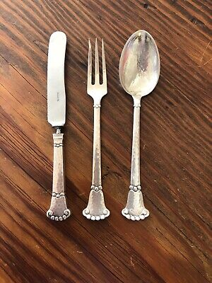 Christian F. Heise Danish 826 Silver Spoon, Fork & Knife Hand Wrought