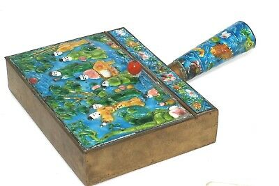 Antique Chinese Cloisonné Enamel Brass Cigarette Card Compartment Box
