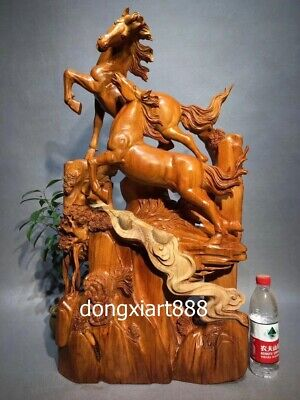82 cm Chinese rosewood palisander Handwork wood impetuous Horse Steed sculpture