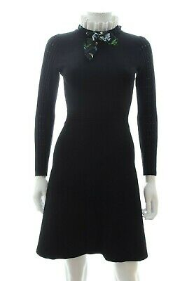 Sandro 'Clemence' Ruffled-Collar Stretch-Knit Dress / Black