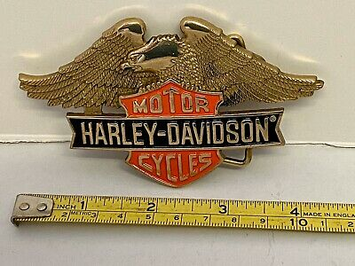 Harley Davidson Vintage Solid Brass Winged Belt Buckle  1990 Baron USA Unused