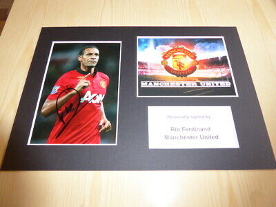 Rio Ferdinand Manchester United mounted photograph original autograph signed