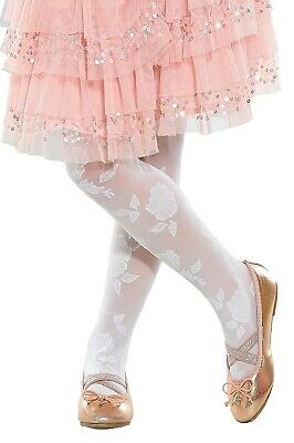 Girls Kids Sheer Party Patterned Tights Rose 5-12 years Lady Kama