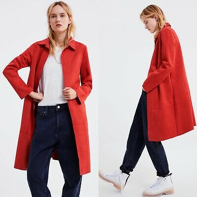 Zara New Ss 2019 Faux Suede Coat Red Lapel Collar Size Xs Ref. 2712/151