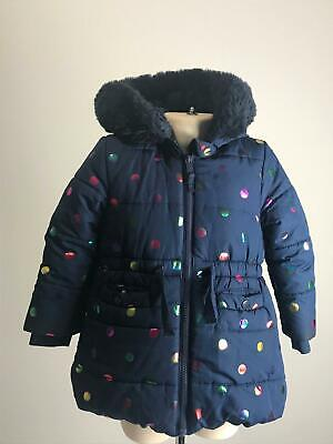 Girls M&S Navy Multi Colour Dots Warm Winter Hooded Coat Jacket Kids Age 2-3 Yrs
